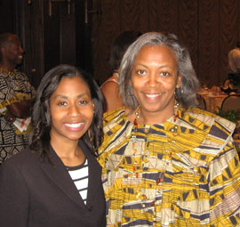 Stephanie Wilson, second African-American woman ever to fly in space and Jackie Johnson, Founder, Mop Top Shop, Inc. at the Bessie Coleman Fly-Sister-Fly Empowerment Breakfast and honoree.