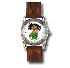 Lollipop! Watch (brown leather band, carved face) $45.00
