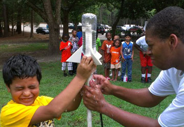Mop Top Campers having fun with bottle rockets!